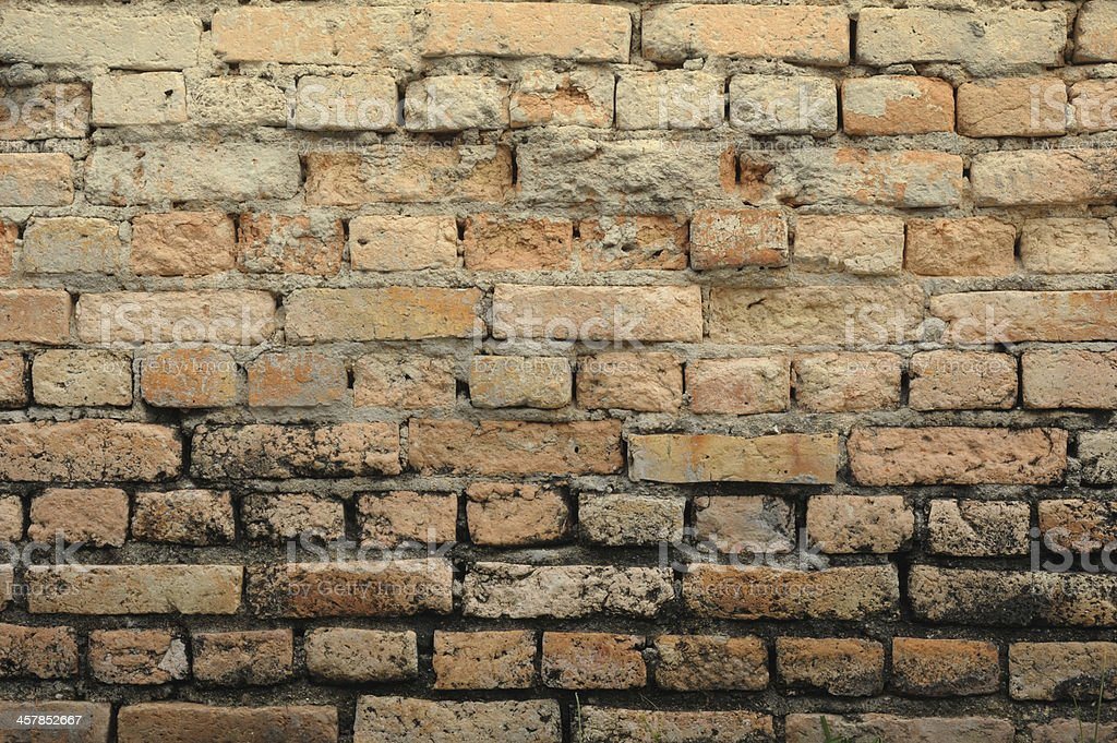 The detailed view of an old brick wall. royalty-free stock photo