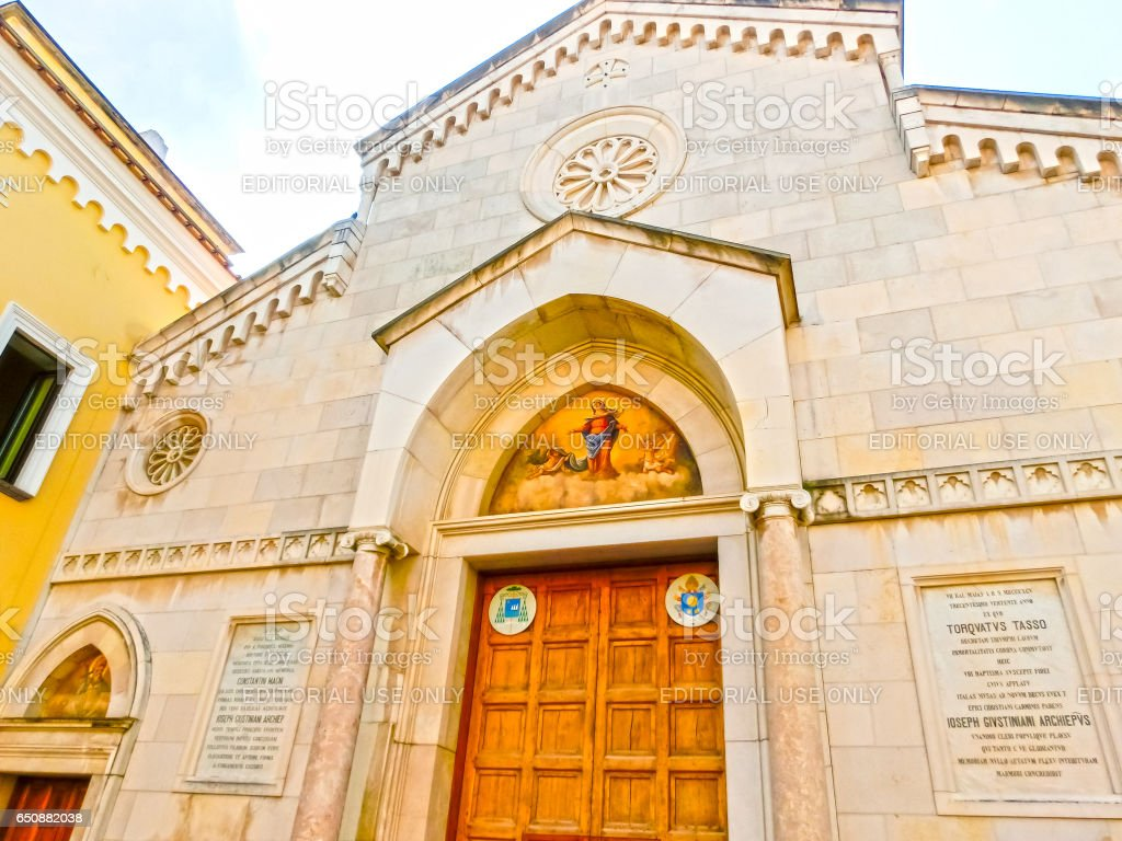 Sorrento, Italy - September 11, 2015: The details of the Duomo, cathedral of Naples. stock photo