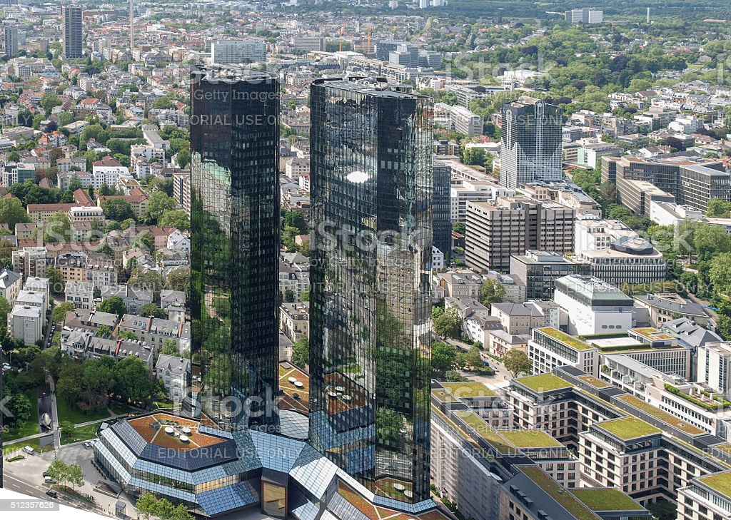 The Deutsche Bank headquarters stock photo
