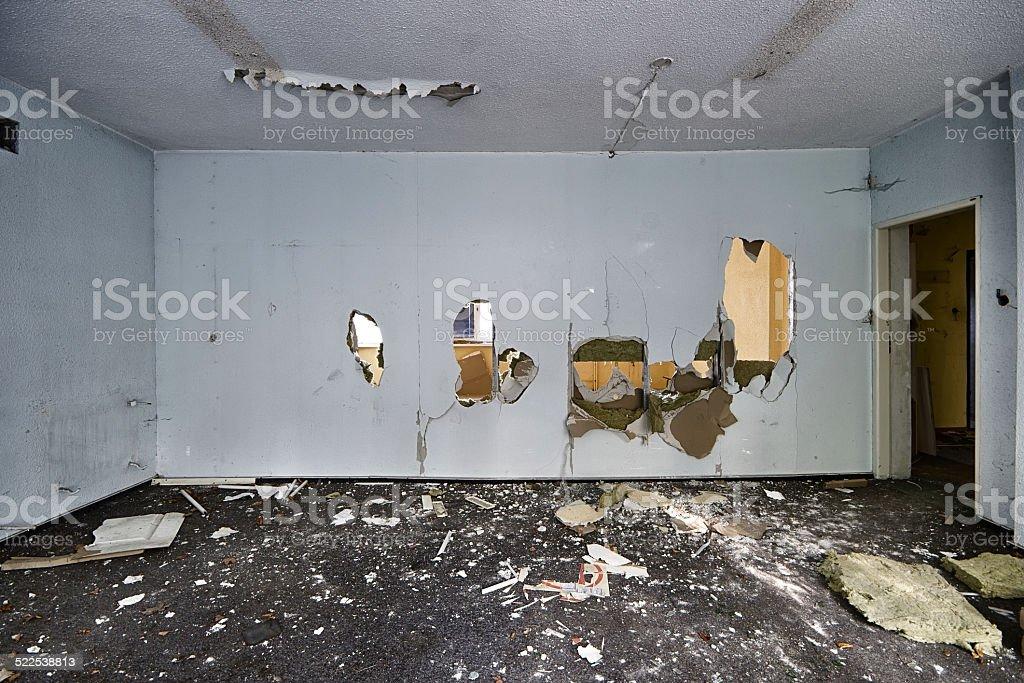 The devastated room stock photo