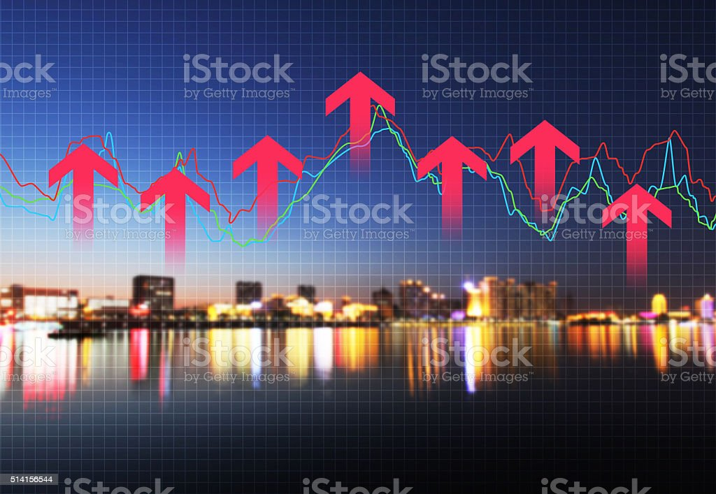 The development of urban economy and finance stock photo
