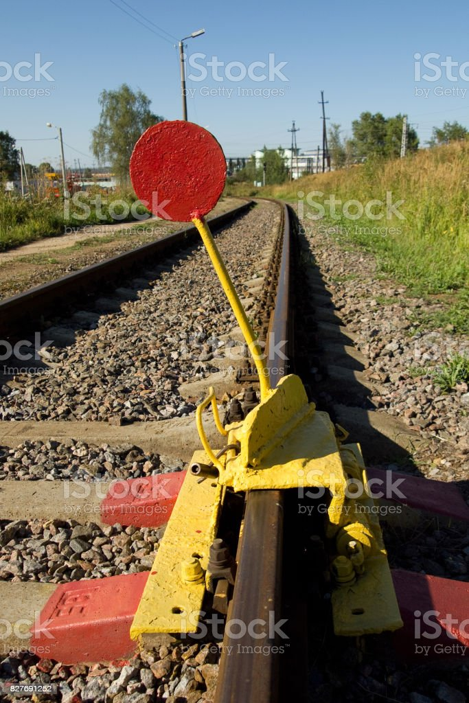 The device blocking the movement of trains on the railway tracks stock photo