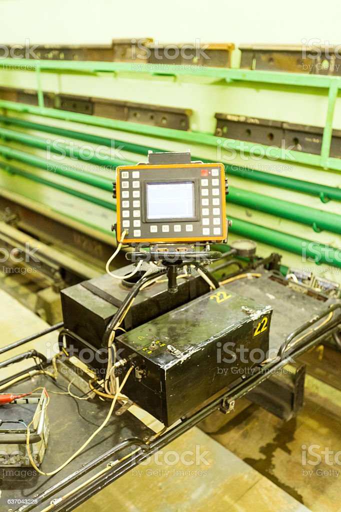 The device for detecting defects in rails stock photo