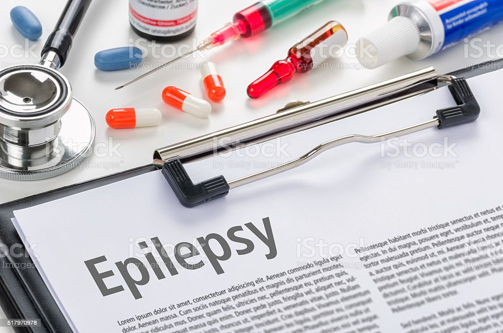 The diagnosis Epilepsy written on a clipboard stock photo