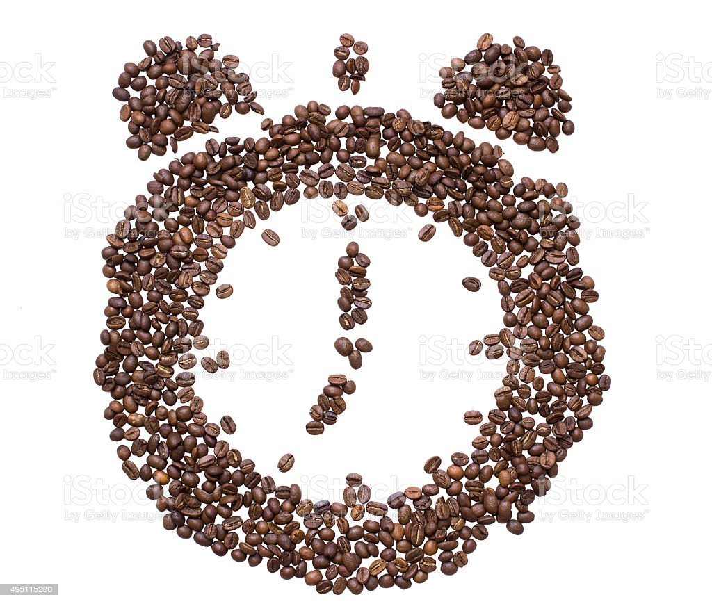 The dial of the clock  inlaid with coffee bean stock photo
