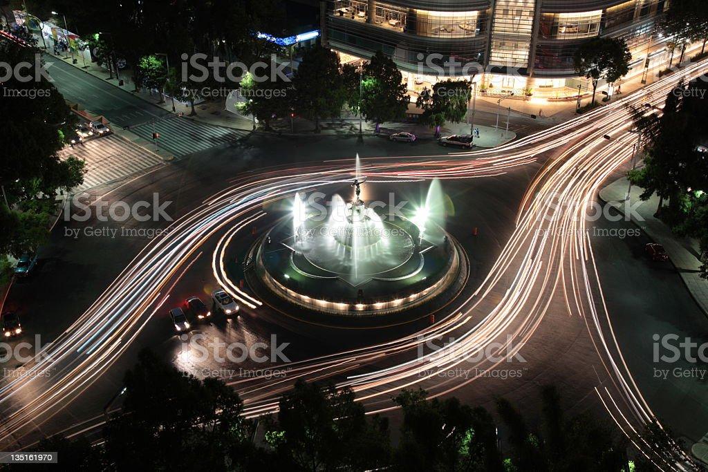 The Diana fountain at night stock photo