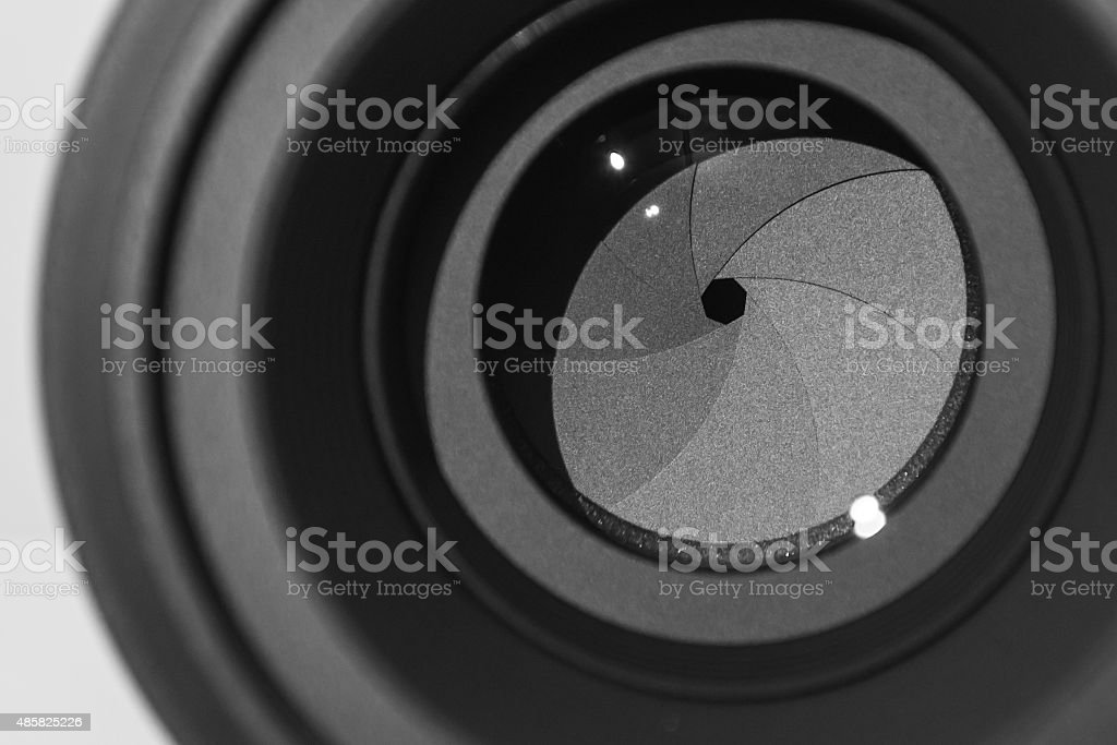 The diaphragm of a camera lens aperture stock photo