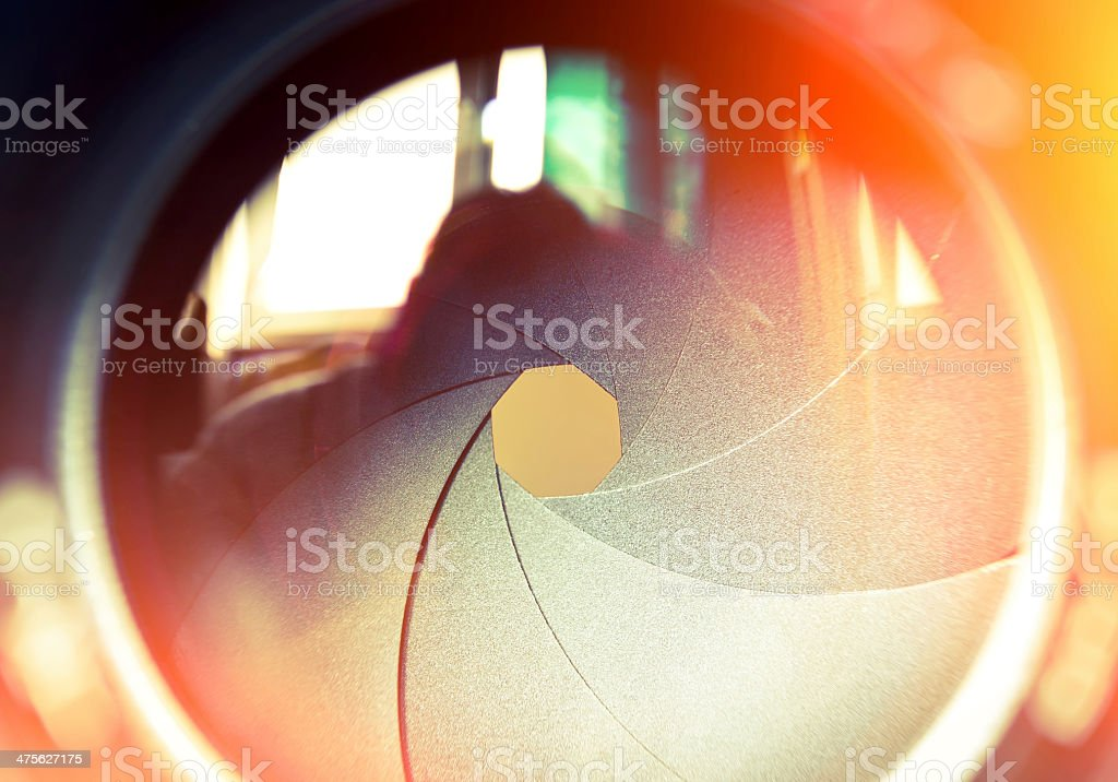The diaphragm of a camera lens. stock photo