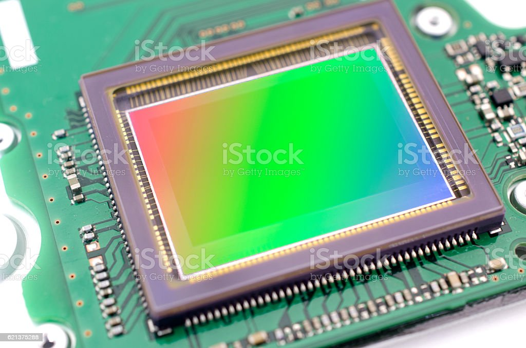 The digital image sensor of Dslr camera stock photo