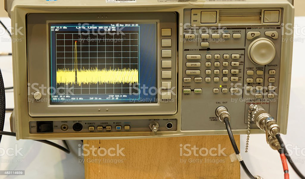 The digital oscilloscope stock photo