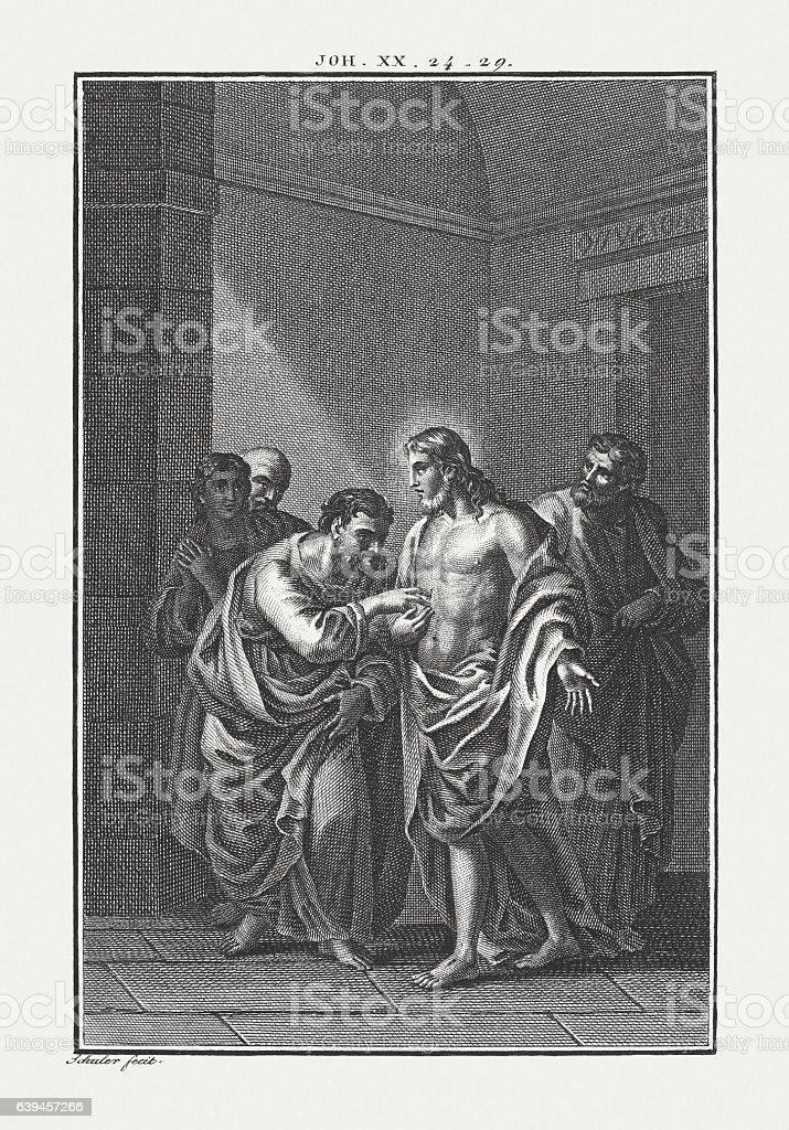 The disbelieving Thomas (John 20, 24-29), copper engraving, published c.1850 stock photo