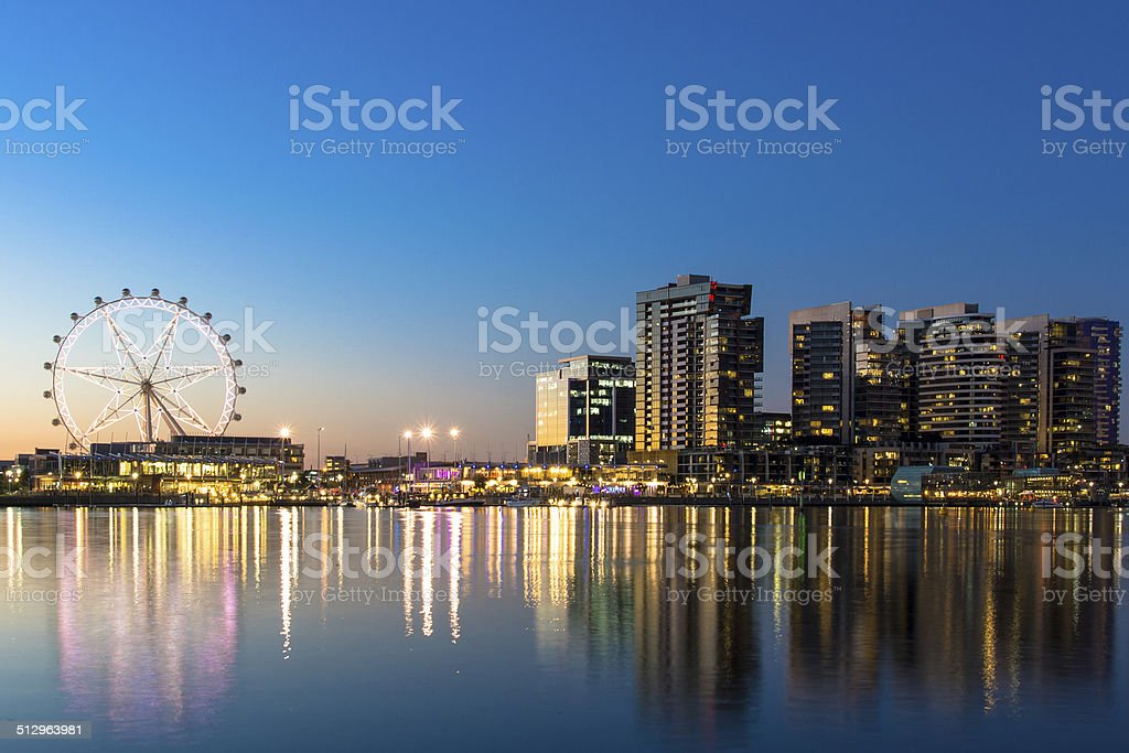 The docklands waterfront of Melbourne at night stock photo