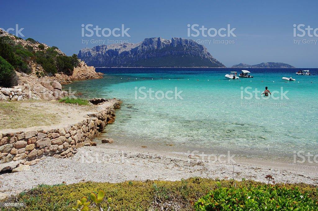 OLBIA, IT -The 'Doctor's beach' and Tavolara Island stock photo