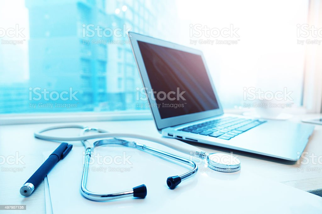 The doctor's table stock photo
