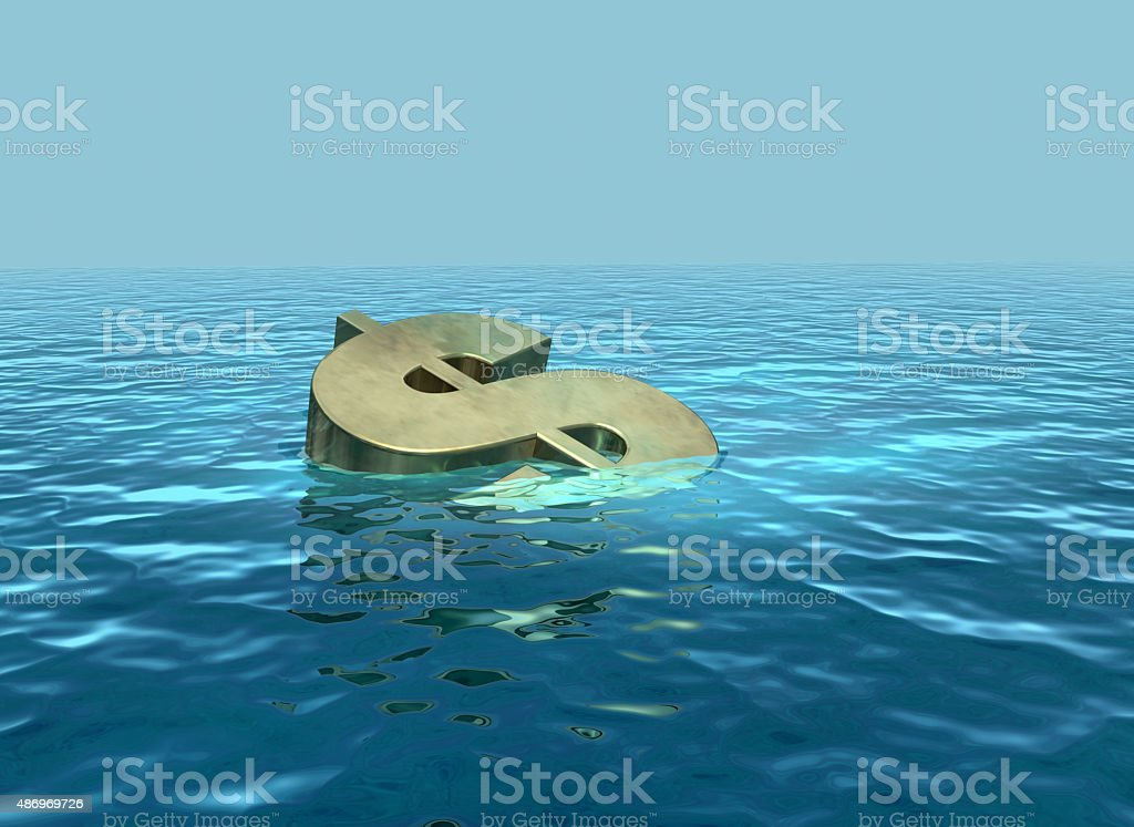 The dollar sinking or struggling stock photo
