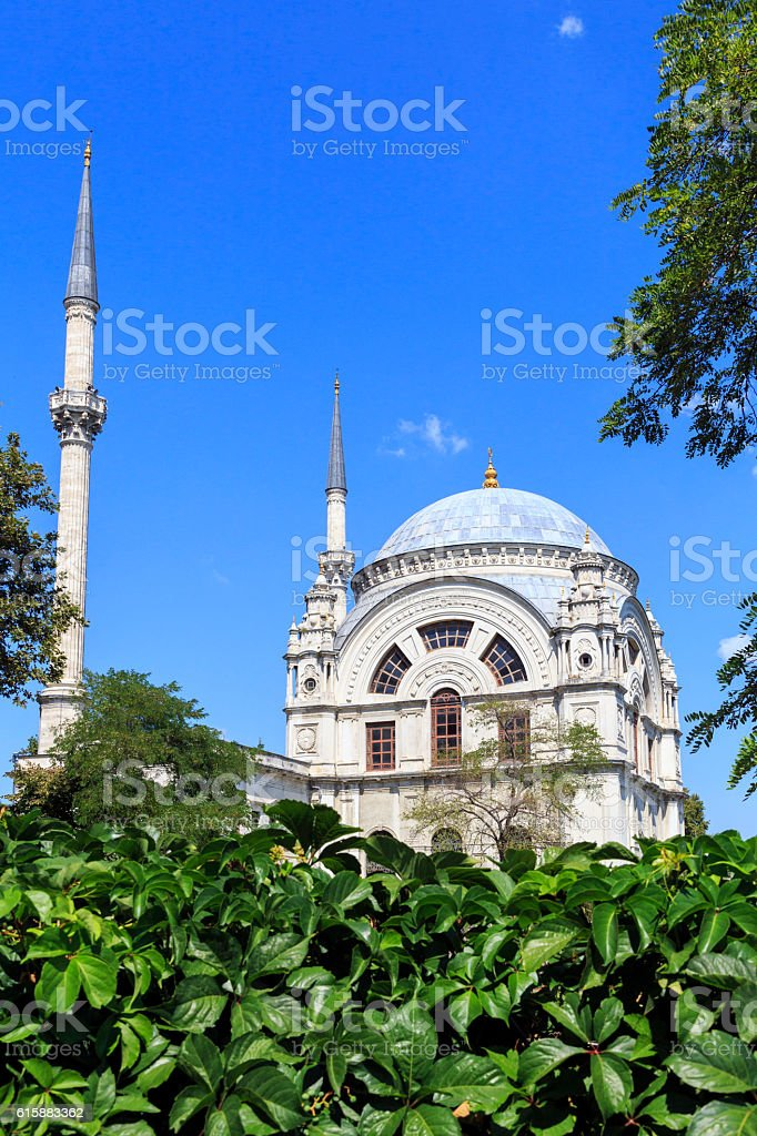 The Dolmabahce Mosque is in Istanbul, Turkey. stock photo