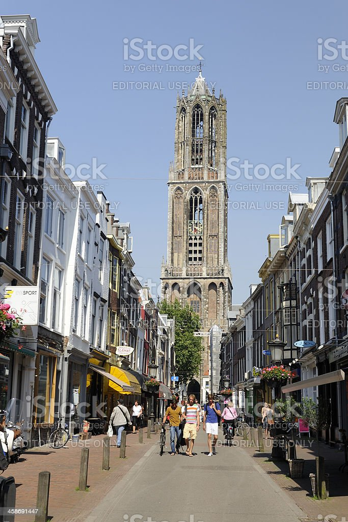 The Dom Tower as viewed from shopping street Zadelstraat royalty-free stock photo