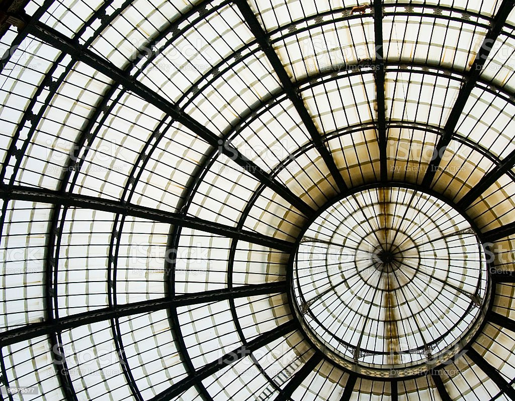 The dome of galleria vittorio emanuele II royalty-free stock photo
