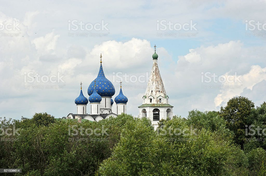 the dome of the old churches in Suzdal, Russia stock photo