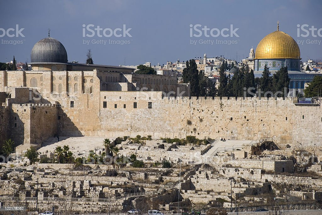 Old City walls and mosques in Jerusalem stock photo