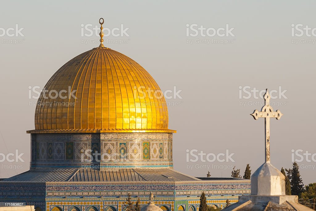 Islamic crescent and Christian cross in Jerusalem's Old City stock photo