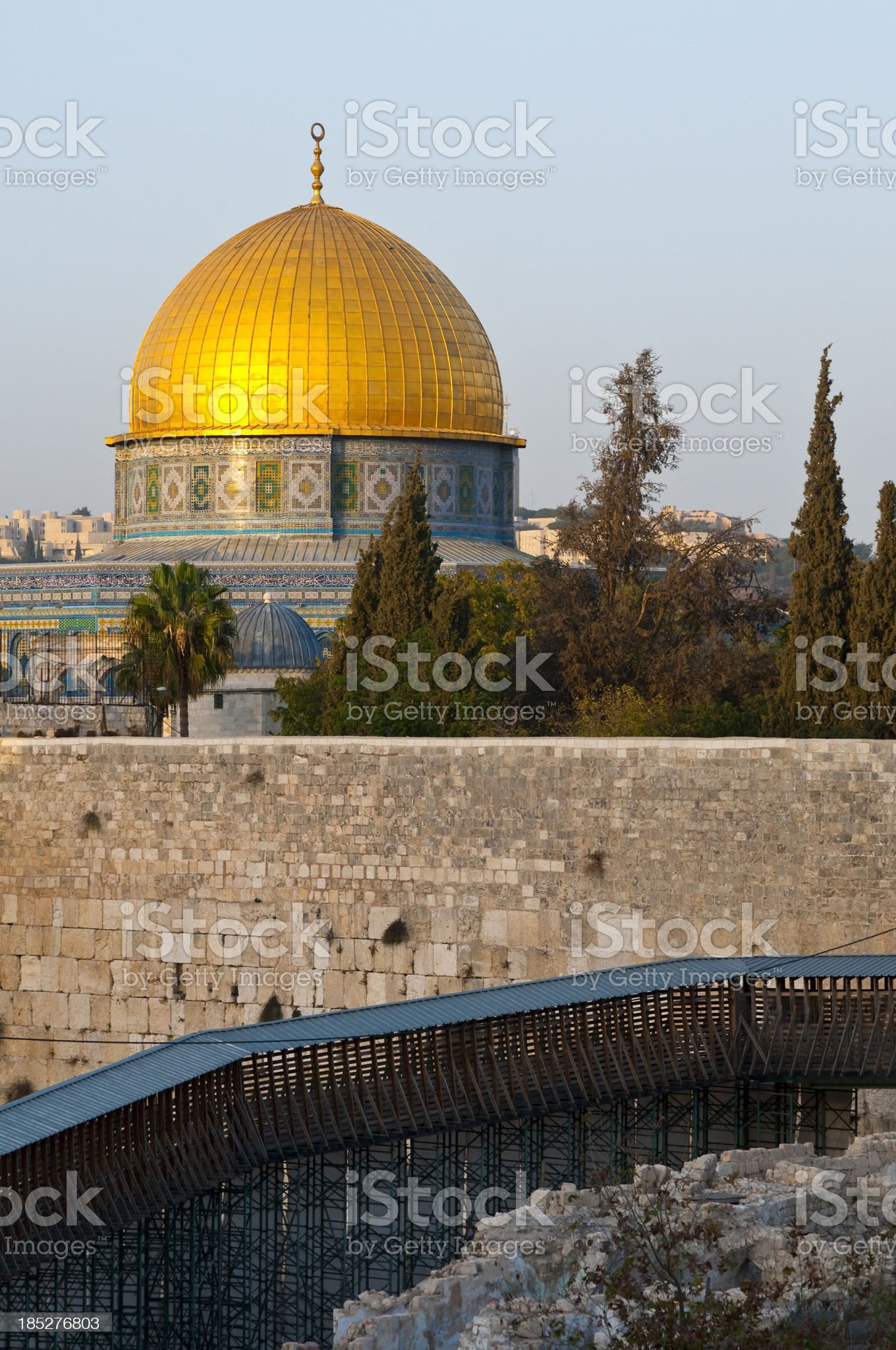 Dome of the Rock and Western Wall in Jerusalem royalty-free stock photo