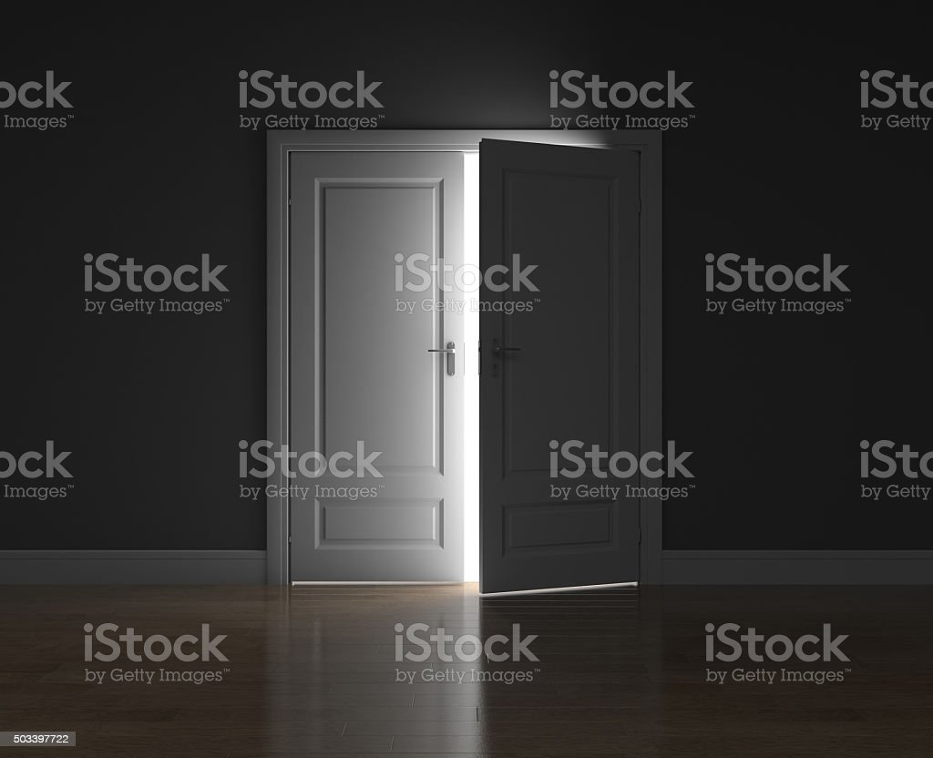 The door ajar stock photo