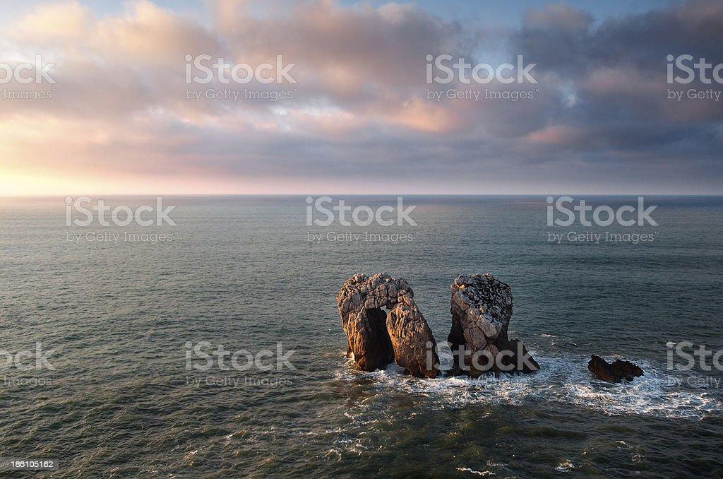 The door of Cantabrian sea at dusk. Cantabria, Spain stock photo