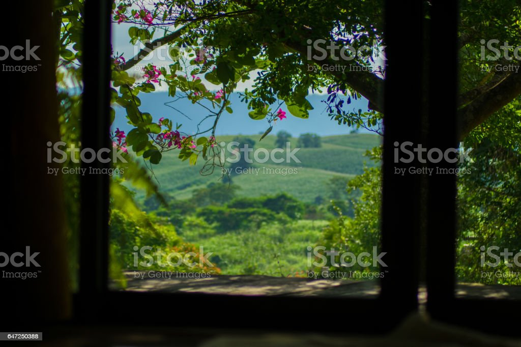 The door on landscape mountain view background stock photo