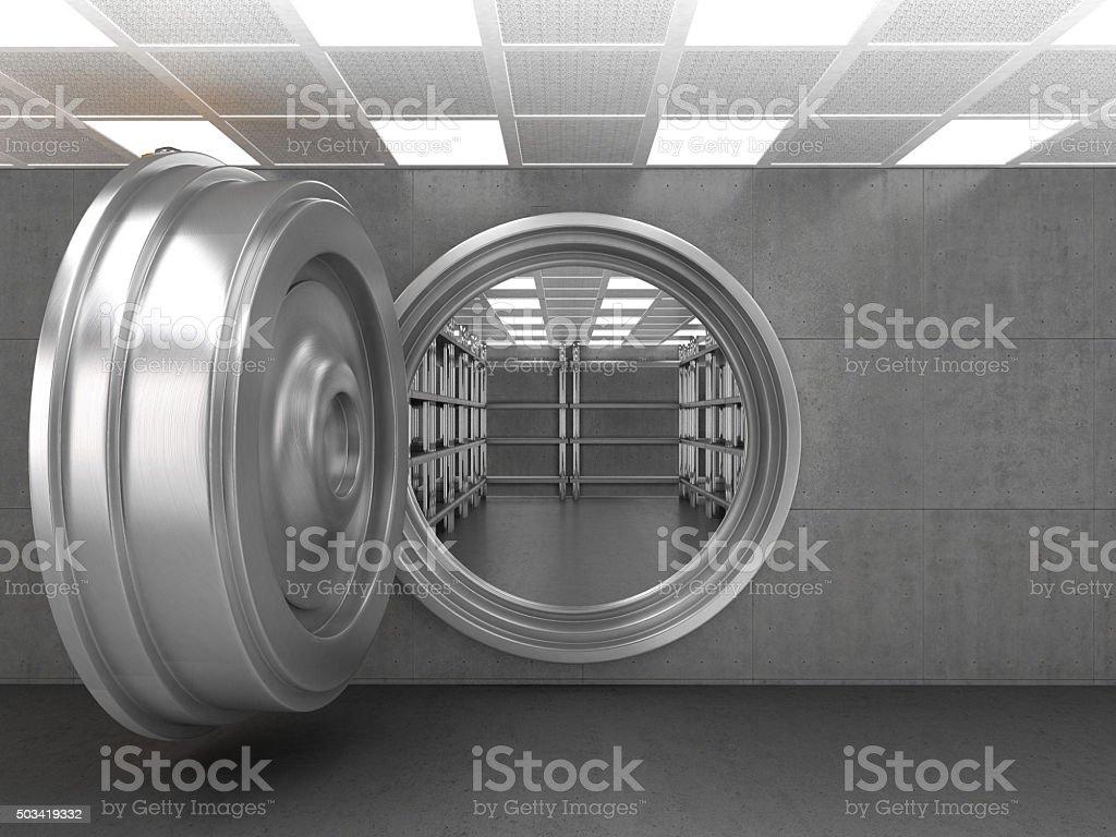 The doorway of a bank vault stock photo
