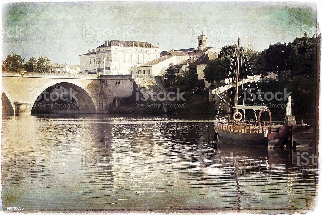 The Dordogne river vintage style, Bergerac, France stock photo