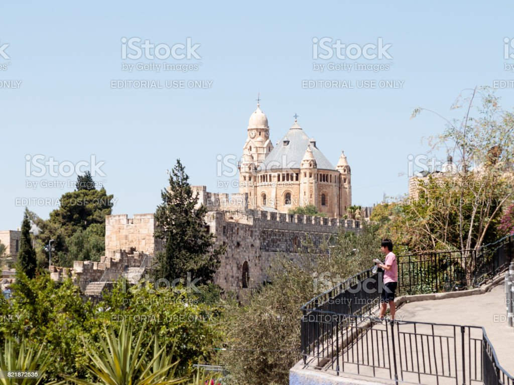 The Dormition abbey and Tower of David over the Tomb of King David in the Old City of Jerusalem, Israel stock photo