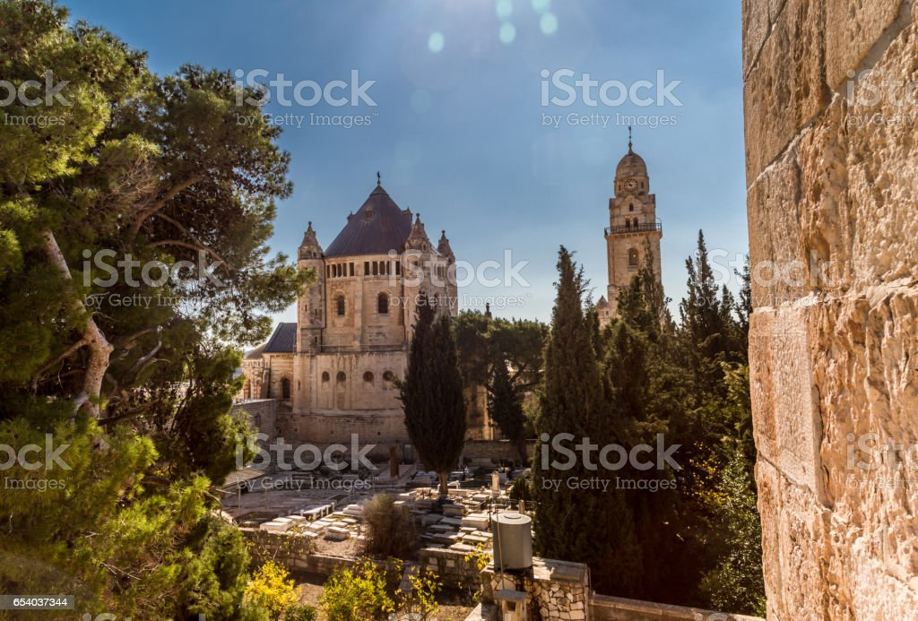 The Dormition Abbey in Jerusalem stock photo