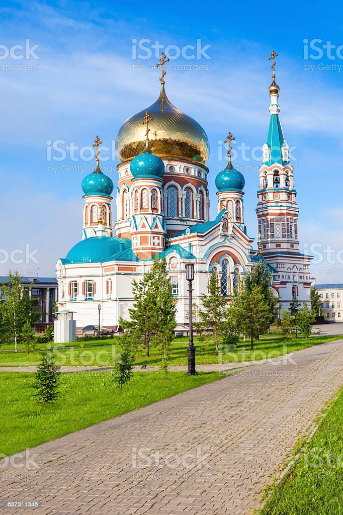 The Dormition Cathedral, Omsk stock photo