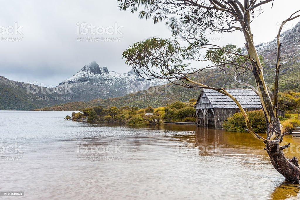 The Dove Lake boatshed in Cradle Mountain NP, Tasmania stock photo