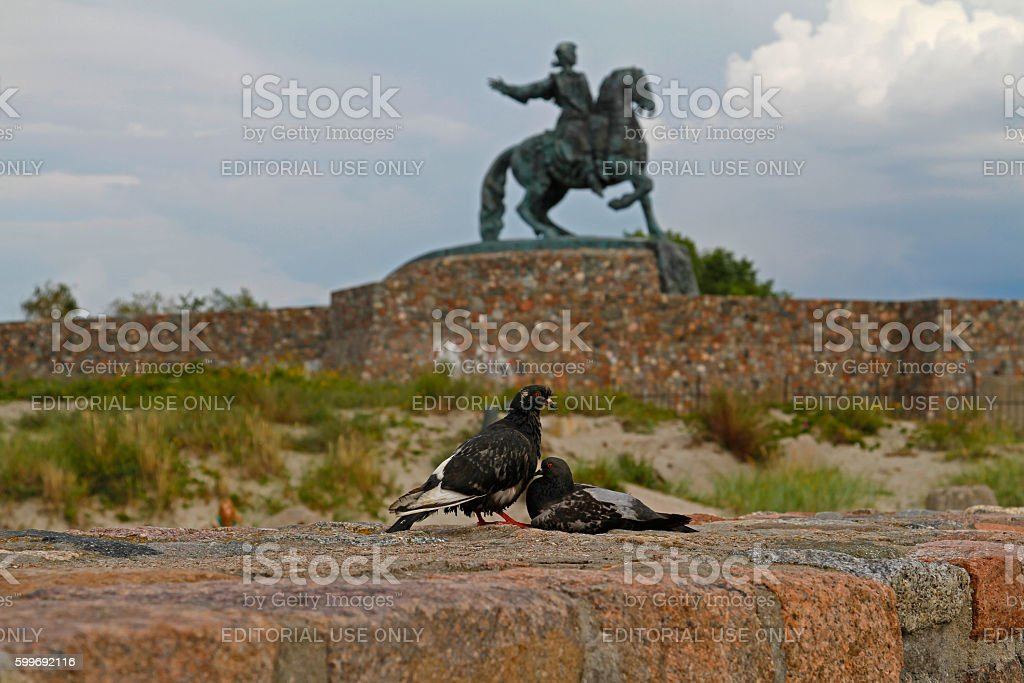 The doves and monument to Empress Elizabeth stock photo