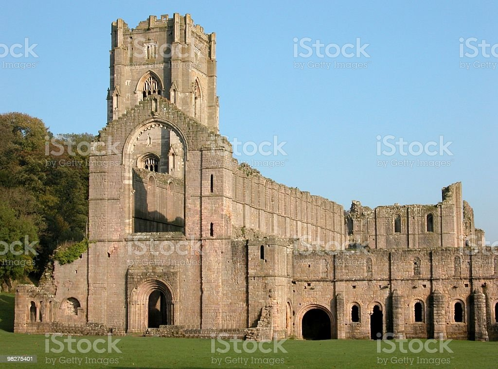 The Dramatic Ruins of Fountains Abbey, Yorkshire, England stock photo