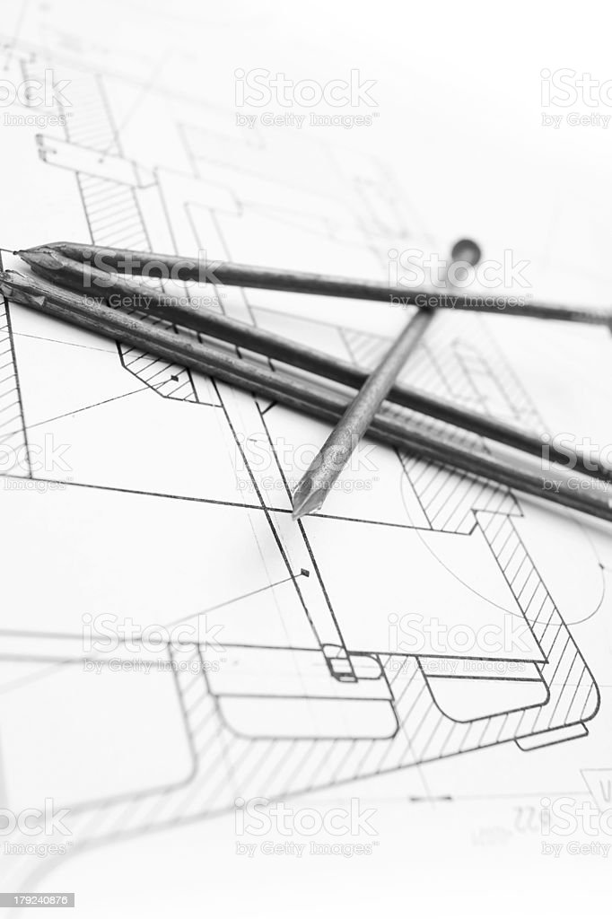 The drawing and nails. royalty-free stock photo