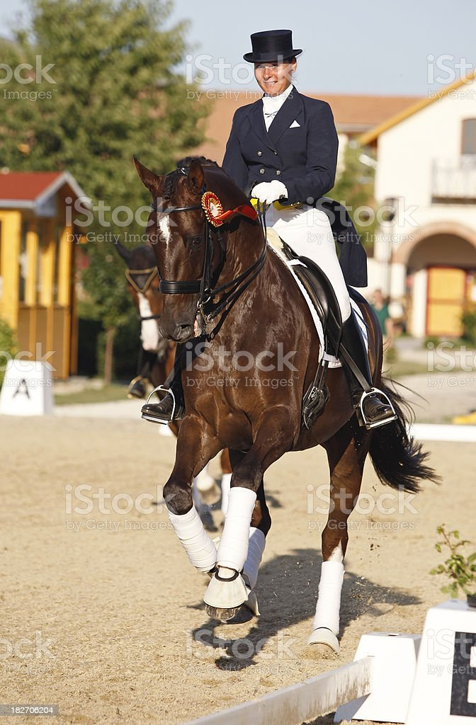 The dressage winner stock photo