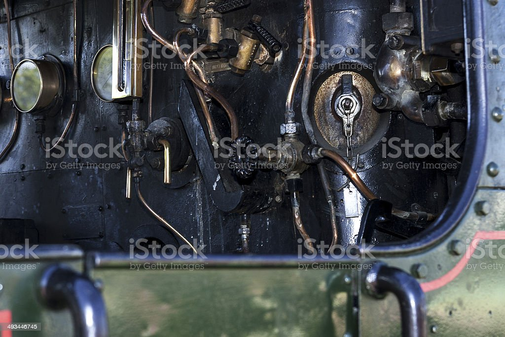Der F?hrerstand einer Mallet Lokomotive stock photo