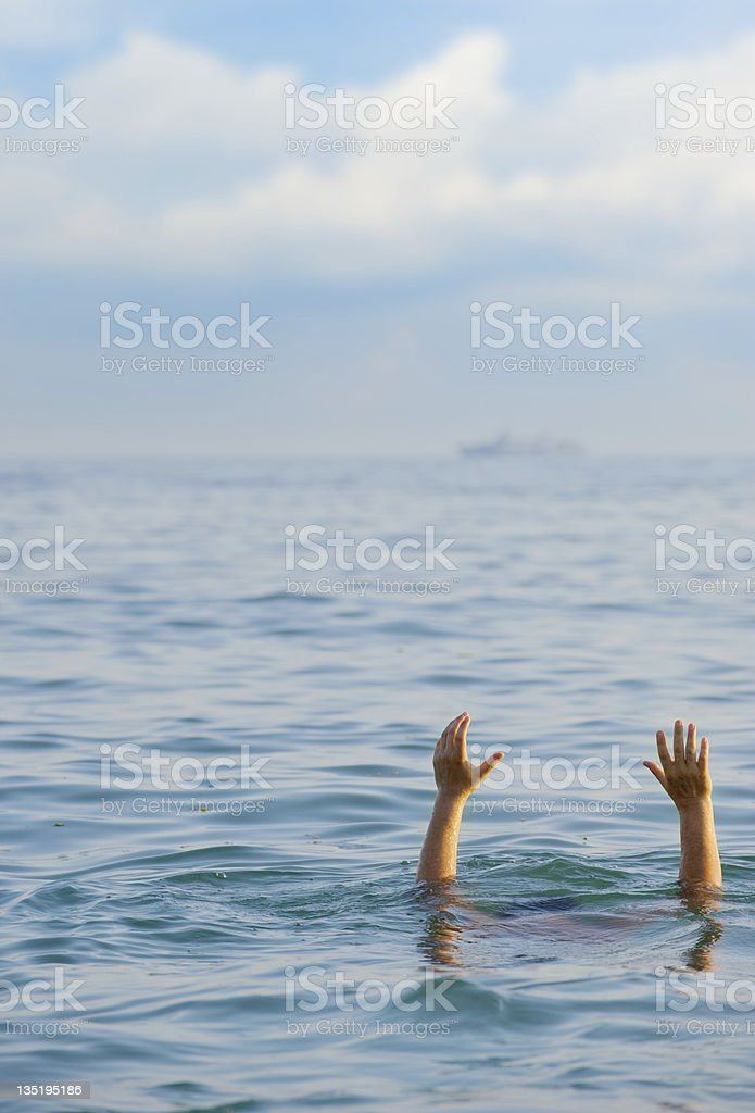 The drowning man royalty-free stock photo