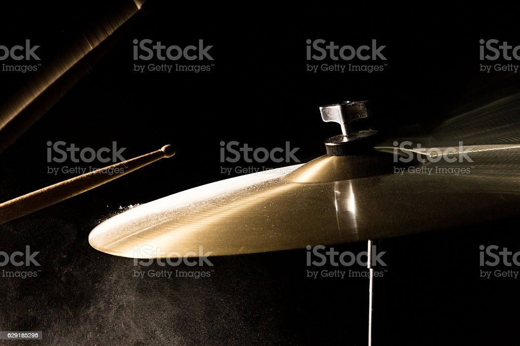 The drum stick hit on the crash stock photo