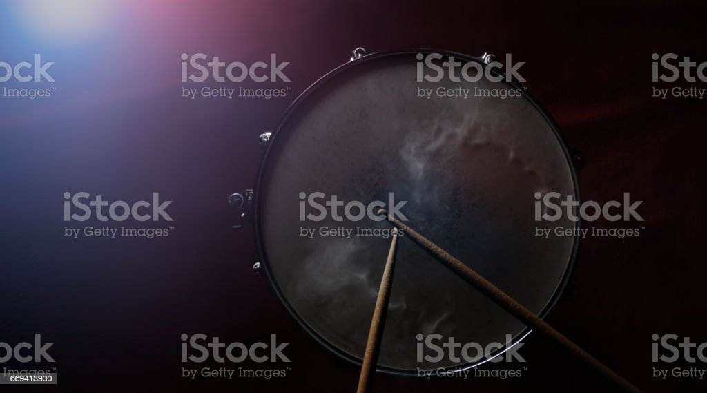 The drum sticks and snare drum stock photo