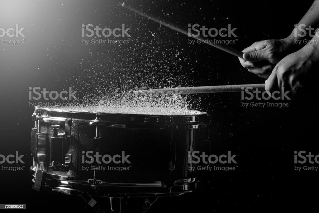The drum sticks are hitting stock photo