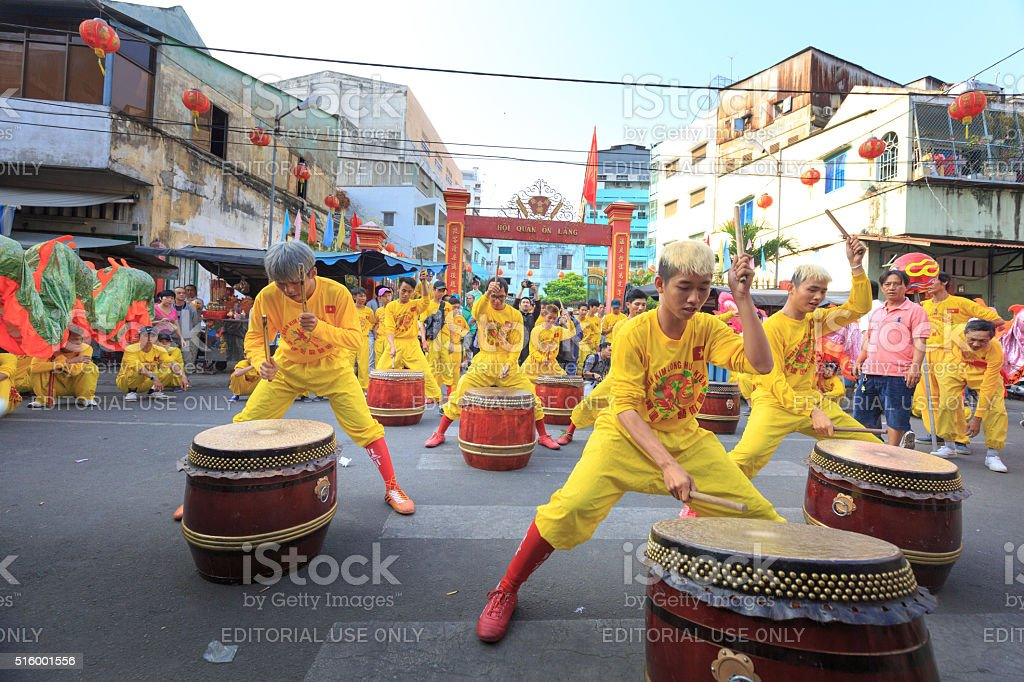 The drummers is playing performing in lion dance ceremony stock photo