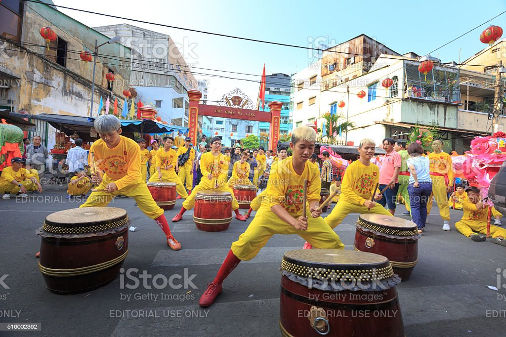 The drummers is playing performing in the lion dance ceremony stock photo