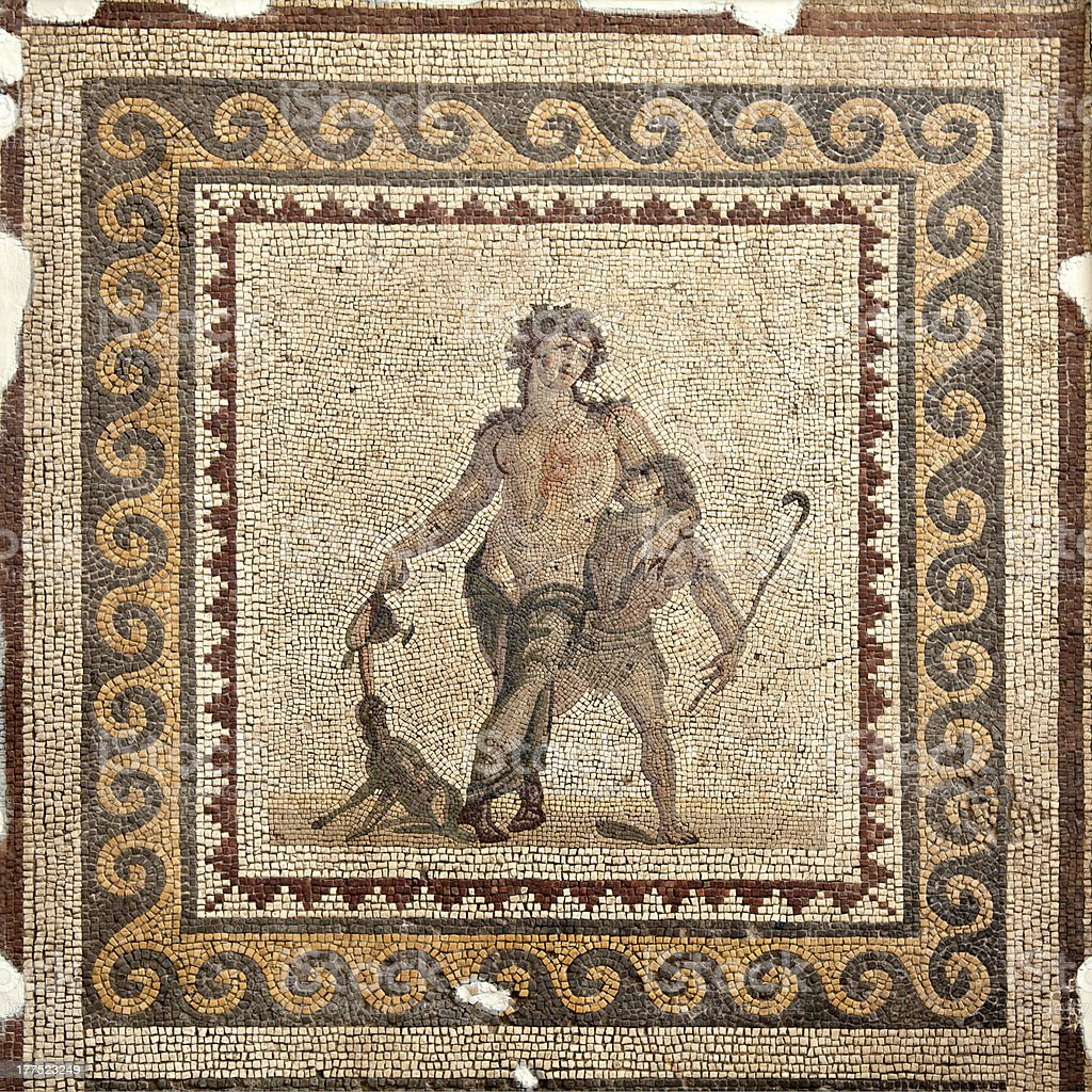 The Drunken Dionysus Mosaic stock photo