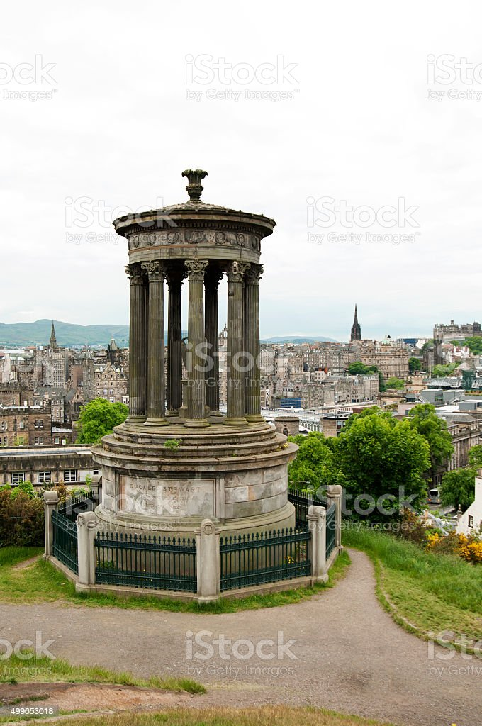 The Dugald Stewart Monument and the City of Edinburgh in the background stock photo
