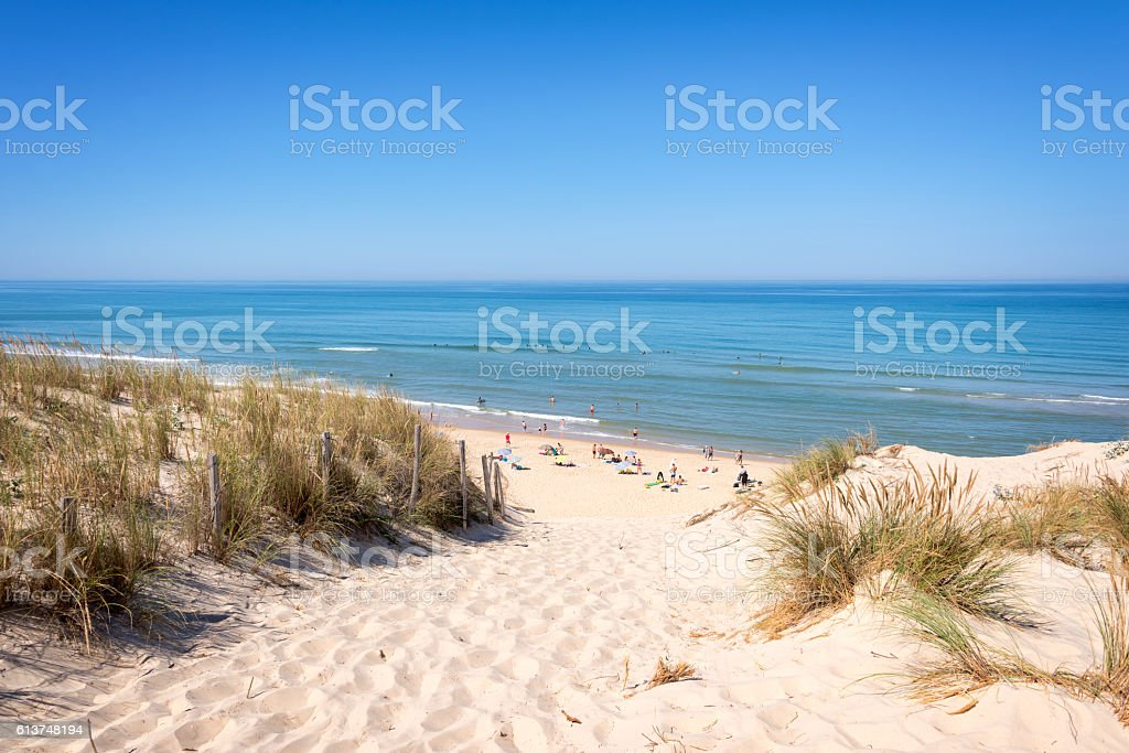 The dune and the beach of Lacanau, atlantic ocean, France stock photo