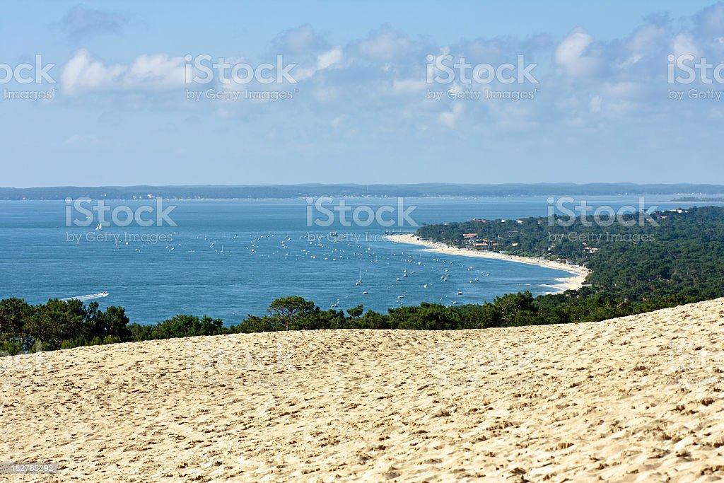 The Dune of Pyla at the beautiful Bassin dArcachon stock photo